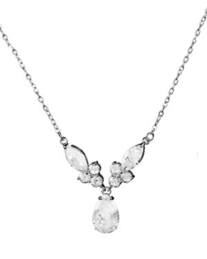 Cubic Zirconia Collection – Bejewelled Necklace – (Silver)