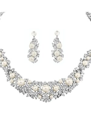 Athena Collection – Exquisite Pearl Necklace Set – Silver