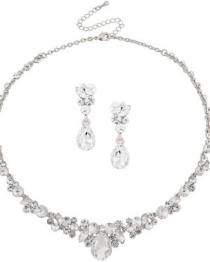 Athena Collection – Crystal Enchantment Necklace Set – Silver