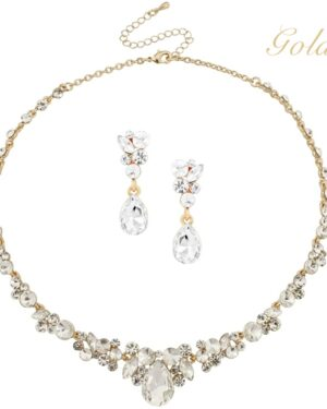 Athena Collection – Crystal Enchantment Necklace Set – Gold
