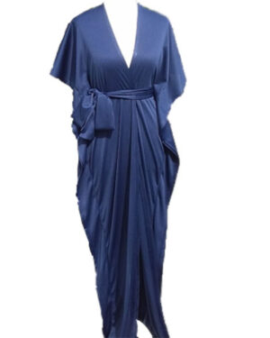 New Fashion Short Sleeve Jersey Dark Blue Maxi Dress