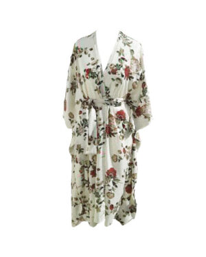 Angelic Viscose Fabric Floral Pattern on Cream Maxi Dress For Women